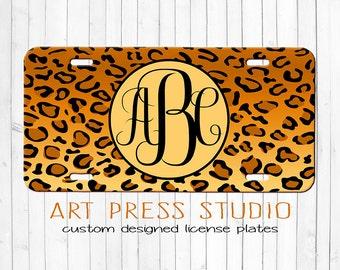 Monogrammed Cheetah License Plate, Leopard License Plate, Personalized Licensed Plate, Animal Print Monogram