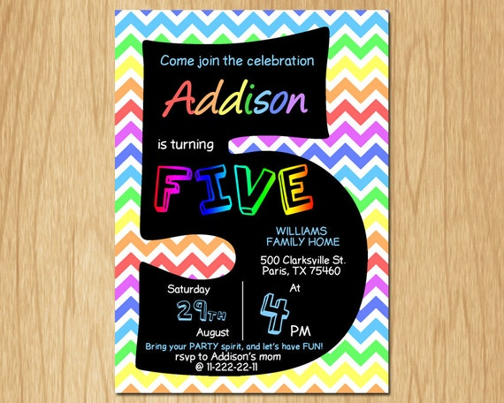 5th birthday invitation rainbow chevron pastel fifth birthday party il570xn filmwisefo