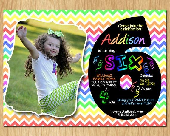 6th Birthday Invitation Rainbow Chevron Pastel Sixth Birthday – 6th Birthday Invitation