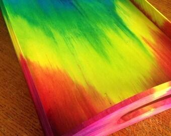 Tie Dye Wooden Serving Tray