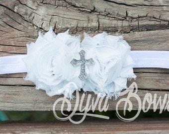 Christening Headband - White headband - Wedding - Baptism - Photography prop - white bow - white headband - cross - baptism bow - hairbow