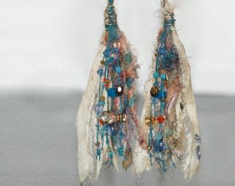 Silk, Crystal, Linen, Sterling Silver, Earrings
