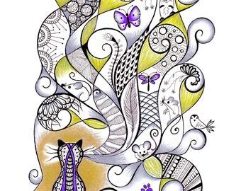 Cat Drawing / Kitten Drawing / Fun Art Print / Original Design