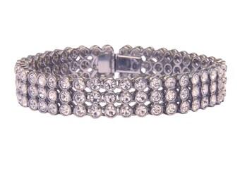 Brilliant sparkling vintage crystal bracelet 1980s, bridal bracelet, evening bracelet