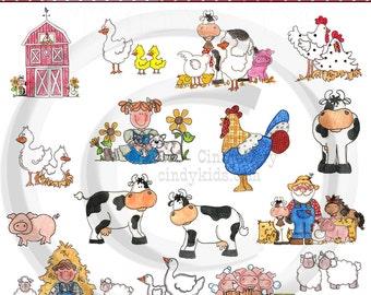 Farm Animals - Clipart CKF01-Original Artwork By Cindy Urry  .PNG Files