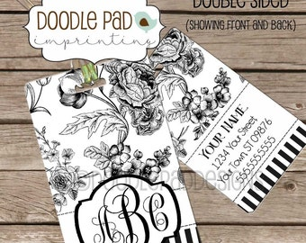 Black and White Floral Personalized Luggage Tag