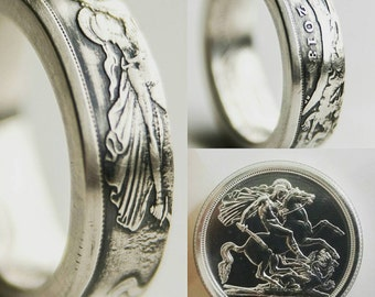British 20 Pound Silver Coin Ring fine silver ring
