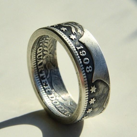 usa barber quarter dollar silver coin ring 90 silver ring