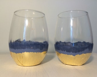 2 Smoky Navy ombre stemless wine glasses