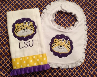 LSU Baby Bib and Burp Cloth Set - LSU Tiger Girl - LSU Tiger Baby Gift