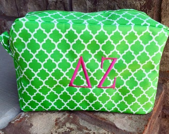Monogrammed Greek Sorority Cosmetic Makeup Bag - Large