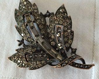 1930's silver brooch with hematite pave rhinestones