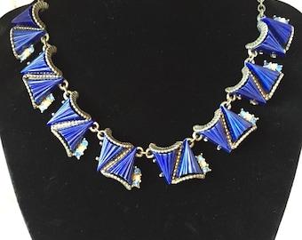 Vintage Cobalt blue triangle Deco choker