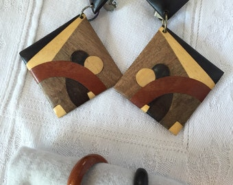Handcrafted inlaid wood earrings and rings set