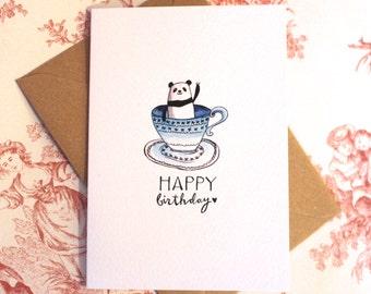 Panda in a Teacup Birthday Card