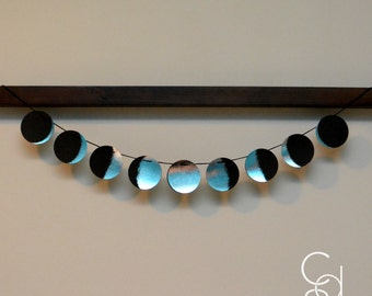 Phases of the Moon Silver Foil Banner with Black Poly Twine