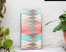 Samsung Galaxy S6 wallet case geometric, coral wood print galaxy s6 edge wallet case, triangles galaxy s7 wallet case