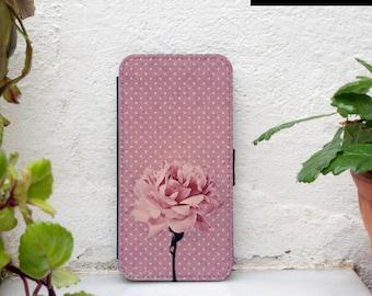 Samsung Galaxy S5 wallet case, pink rose galaxy S5 case wallet pink polka dots samsung s5 wallet case vintage floral girly samsung s7 wallet