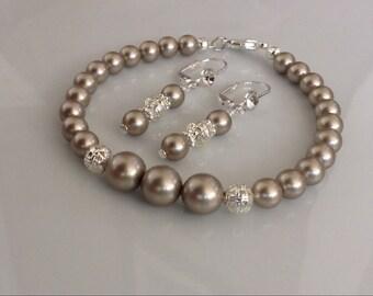 Platinum Pearl Bracelet and Earrings   Bridal Jewelry Set   Pearl Bridal Set   Swarovski Platinum Pearls
