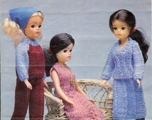 Robin 13077 Sindy Dolls Knitting Pattern -  Vintage Pattern - Three Doll's Outfits (1970s) Doll Clothes