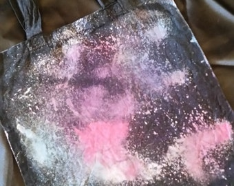 Black Cotton, hand painted, double sided galaxy tote bag
