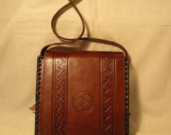 Vintage 1980's Handmade Brown Leather Handbag - Shoulder Bag - NEW
