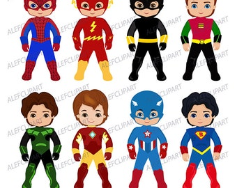 Superboy  Digital Clipart, Superhero Clipart, Super Boy Clipart, Superhero Kids Costumes Clip Art.