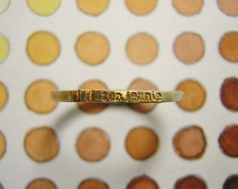 "engraved stapmed message word ring "" tea jennie ( mille-feuille ) """