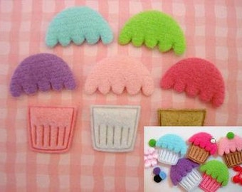 15 Variety Adorable Pink Brown White Cupcake Felt Applique/Trim/Cup Cake