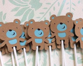 12 Adorable Baby Boy Teddy Bear Cupcake toppers