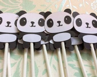 12 Adorable Black and White Panda Bear Cupcake toppers
