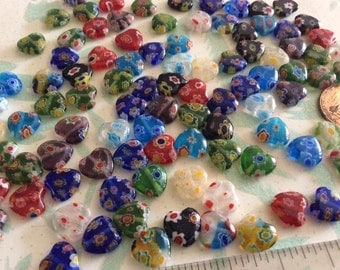 SET of 20 10mm Shining Heart Millefiori Glass Beads Multi-Colored with Flower designs
