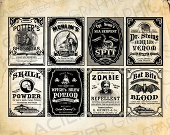 Halloween Witch Labels Poison Apothecary Tags Potion Bottle Halloween Bottle Labels Printable Collage Sheet Clip Art Scrapbooking