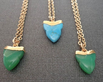 Shark Tooth Necklace / Green Blue Shark Tooth / Natural Stone Shark Tooth / Turquoise Chrysoprase / Green Gold Shark Tooth / GB11