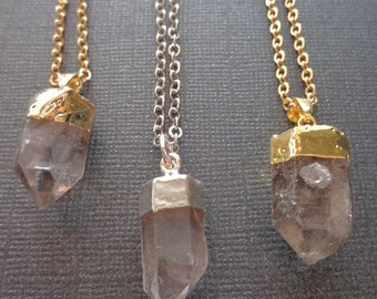 Crystal Necklace / Crystal Quartz Necklace / Clear Crystal Point Quartz / Gold Silver Crytal Point / GP8