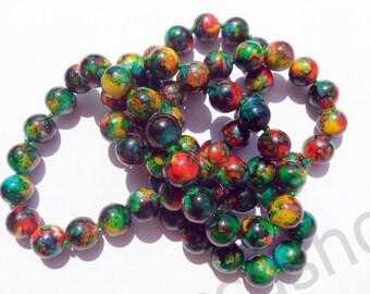 GREEN RED 12mm ceramic bead lot 10 pcs