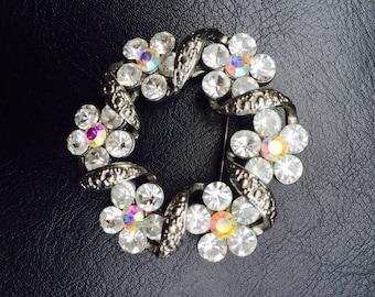 Vintage Rhinestones and Auroraborelis Brooch/Vintage Costume Jewelry / Mid Century Flower Rhinestones and AB Brooch/ Vintage Brooch