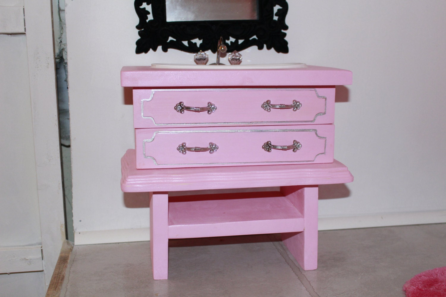 18 Inch Vanity With Sink : Pink Bathroom Sink Vanity Handmade 18 inch doll by MadisDollHouse
