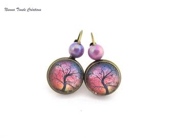 Glass jewelry, tree earrings, purple red, symbolic jewel, tree of life