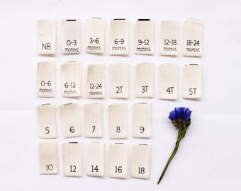 """Printed Cotton Size Tabs - For Childrens/Baby Clothing- Natural Color Labels w/ Black Letters- Center Fold- 0.375""""(W) x 0.75""""(H) Folded Size"""