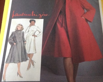 Simplicity Sewing Pattern 9712 Pauline Trigere Misses Dress And Lined Coat Funnel Dress Mandarin Coat Tent Coat  Size 10 New Uncut
