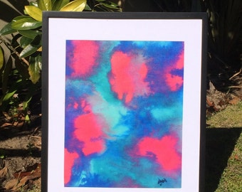 PRINT abstract painting in blue coral aqua bright from Perth Australia - Giclee fine art print
