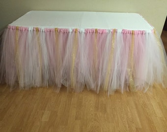 Pink/Gold/White Tutu Table Skirt