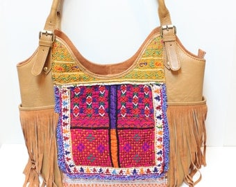 Tan Leather & Vintage Fabric Fringed Banjara Bag  FREE SHIPPING