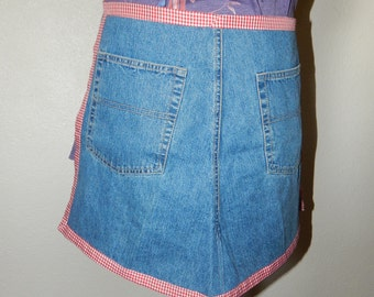 Recycled Denim Half Apron with Red Check Trim