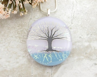 Glass Tree Pendant - Pink and Blue Tree of Life Pendant - Fused Dichroic Glass Tree Necklace