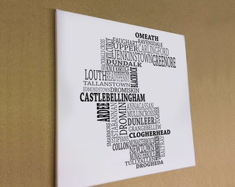 """Co. Louth - Typographical Map Canvas Print 16"""" x 16"""""""