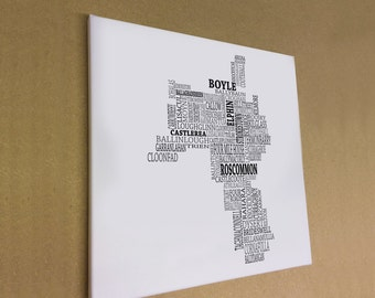 """Co. Roscommon - Typographical Map Canvas Print 16"""" x 16"""""""