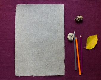 Gray paper of cannabis fibers, handmade paper, eco friendly, deckle edge, writing and drawing paper, single sheet (code#10)