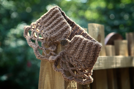 Hand knitted and crocheted Neck Warmer Unique design. Only one made. Manx Loaghton wool. Rare breed